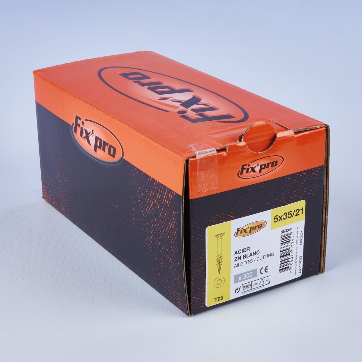 Vis à bois tête fraisée TX - 5x35/21 - 500pces - Fixpro