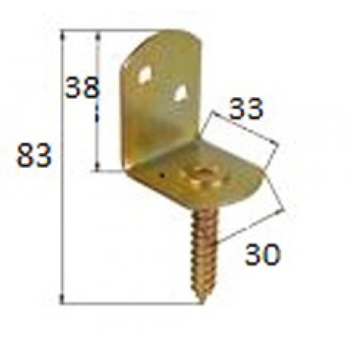 Equerre à vis Alberts - Dimensions 83 x 38 mm