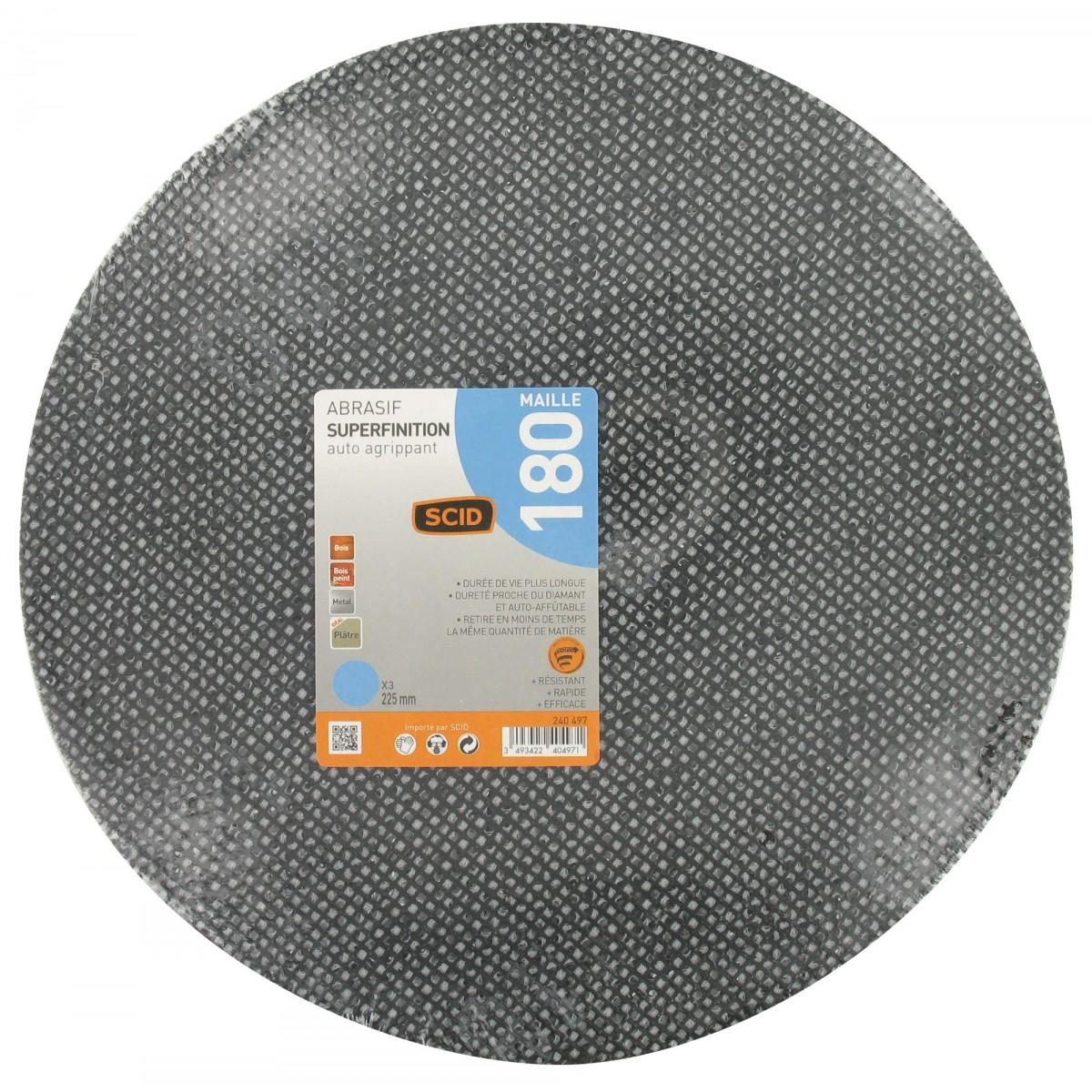 Disque maille auto-agrippant diamètre 225 mm SCID - Grain 180 - Vendu par 3
