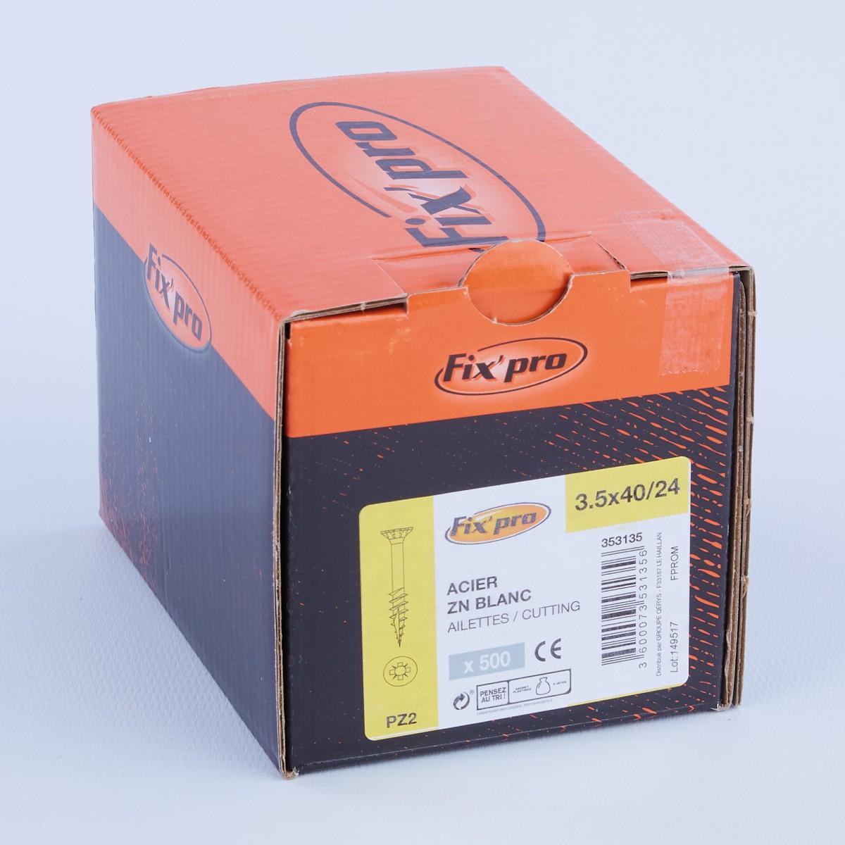 Vis à bois tête fraisée PZ - 3,5x40/24 - 500pces - Fixpro