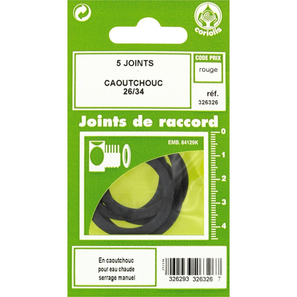 Joint caoutchouc EPDM - Filetage 26 x 34 mm - Vendu par 5