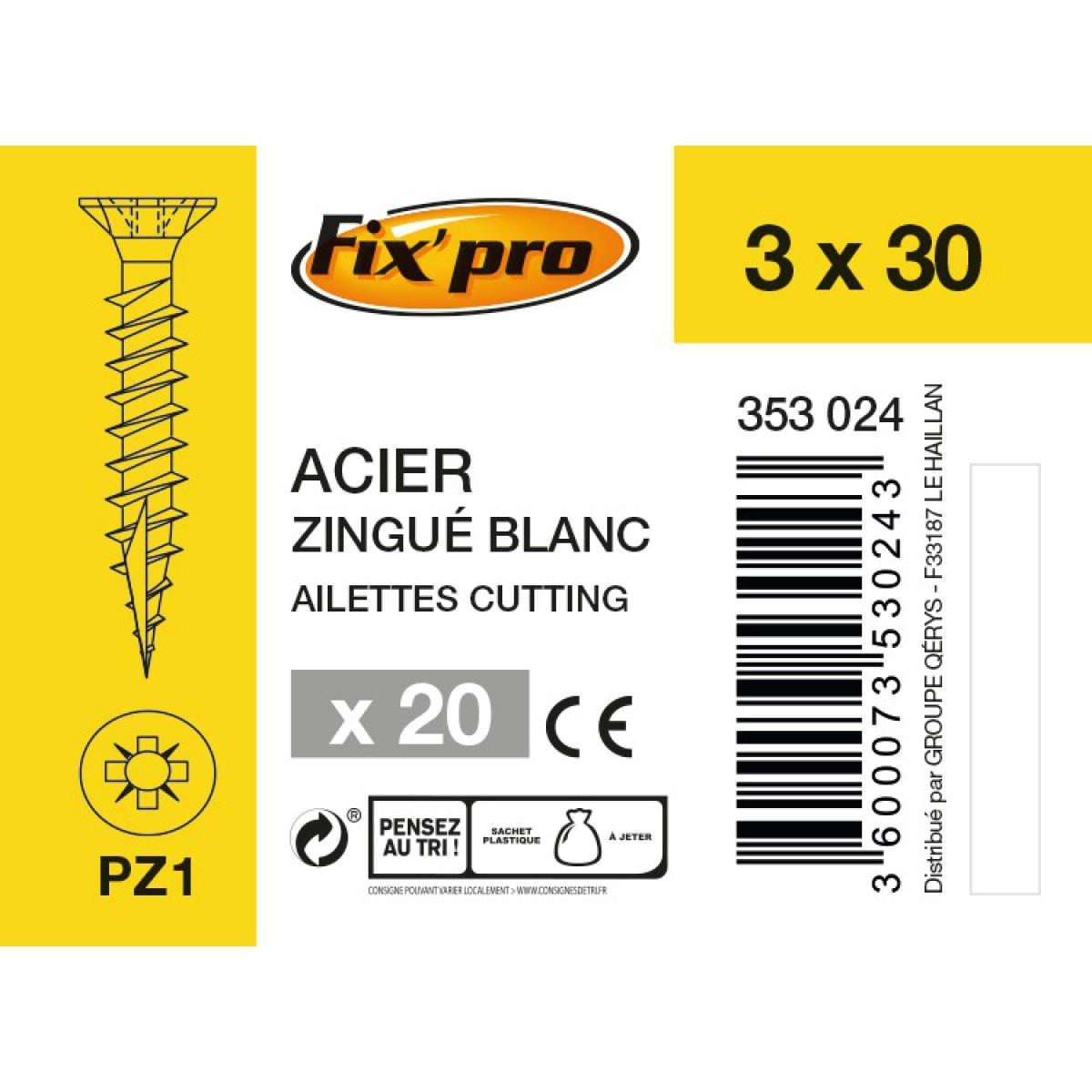 Vis à bois tête fraisée PZ - 3x30 - 20pces - Fixpro