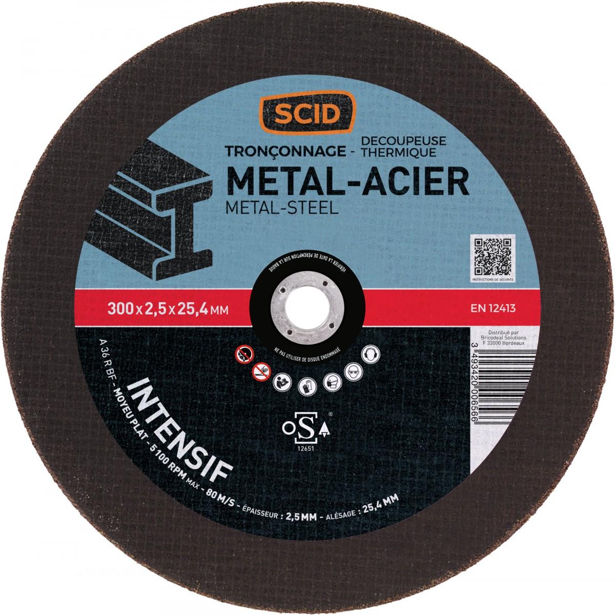 Disque abrasif à moyeu plat SCID - Métaux - Diamètre 300 mm - Alésage 25,4 mm