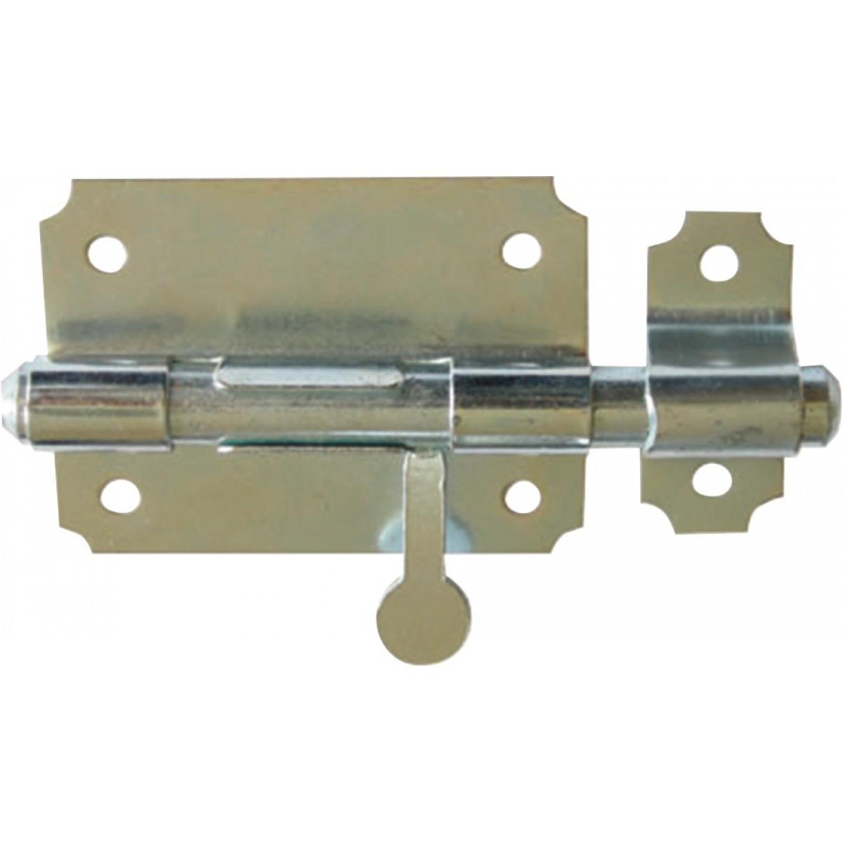 Verrou de box bouton poire Torbel - Acier zingué blanc- Diamètre pêne 18 mm