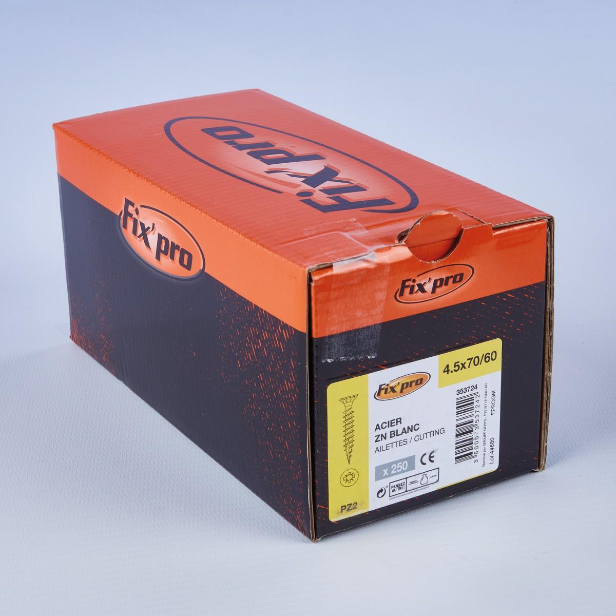 Vis à bois tête fraisée PZ - 4,5x70 - 250pces - Fixpro