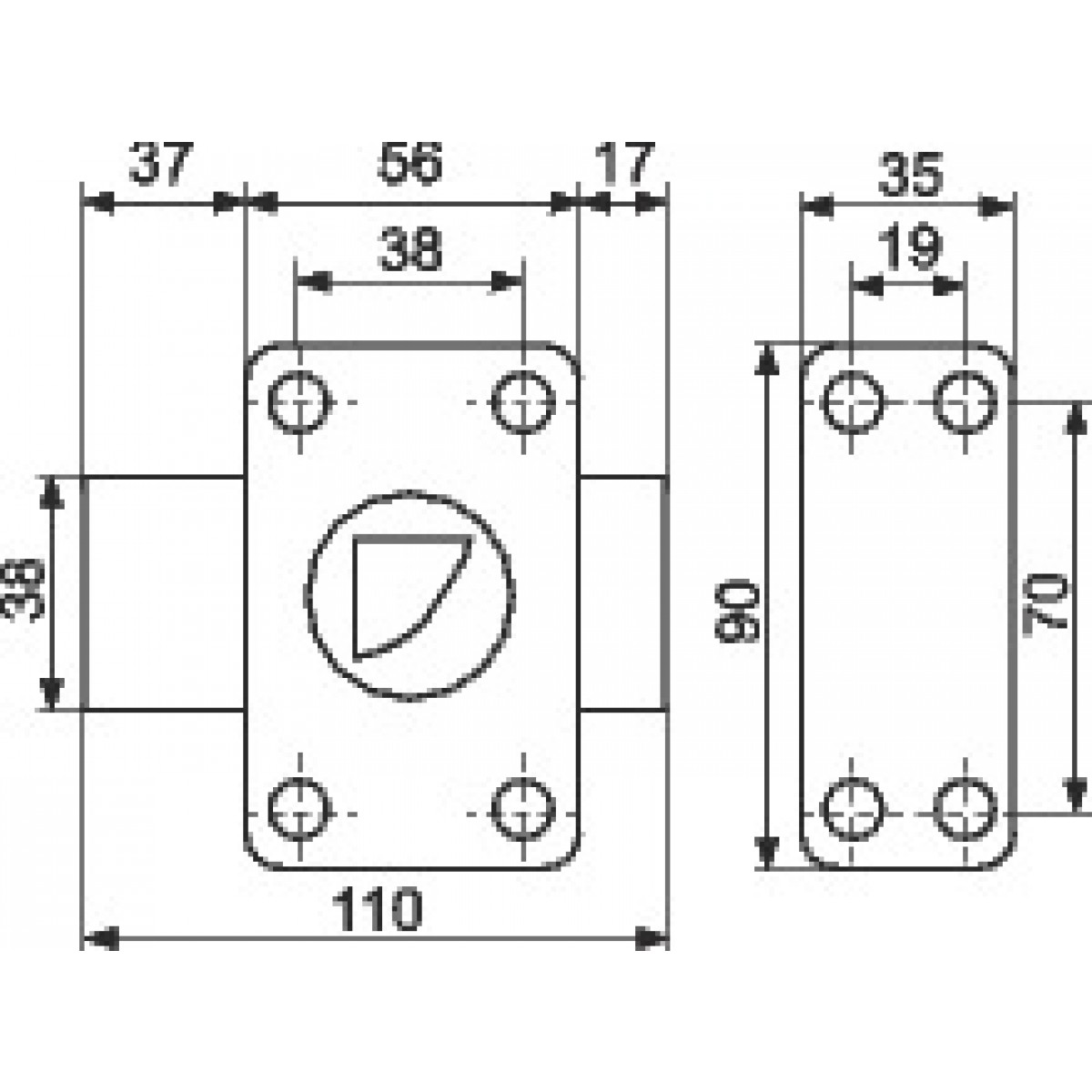 Verrou à bouton bronze - Cylindre 45 mm - Pêne 110 mm - City 25 - ISÉO