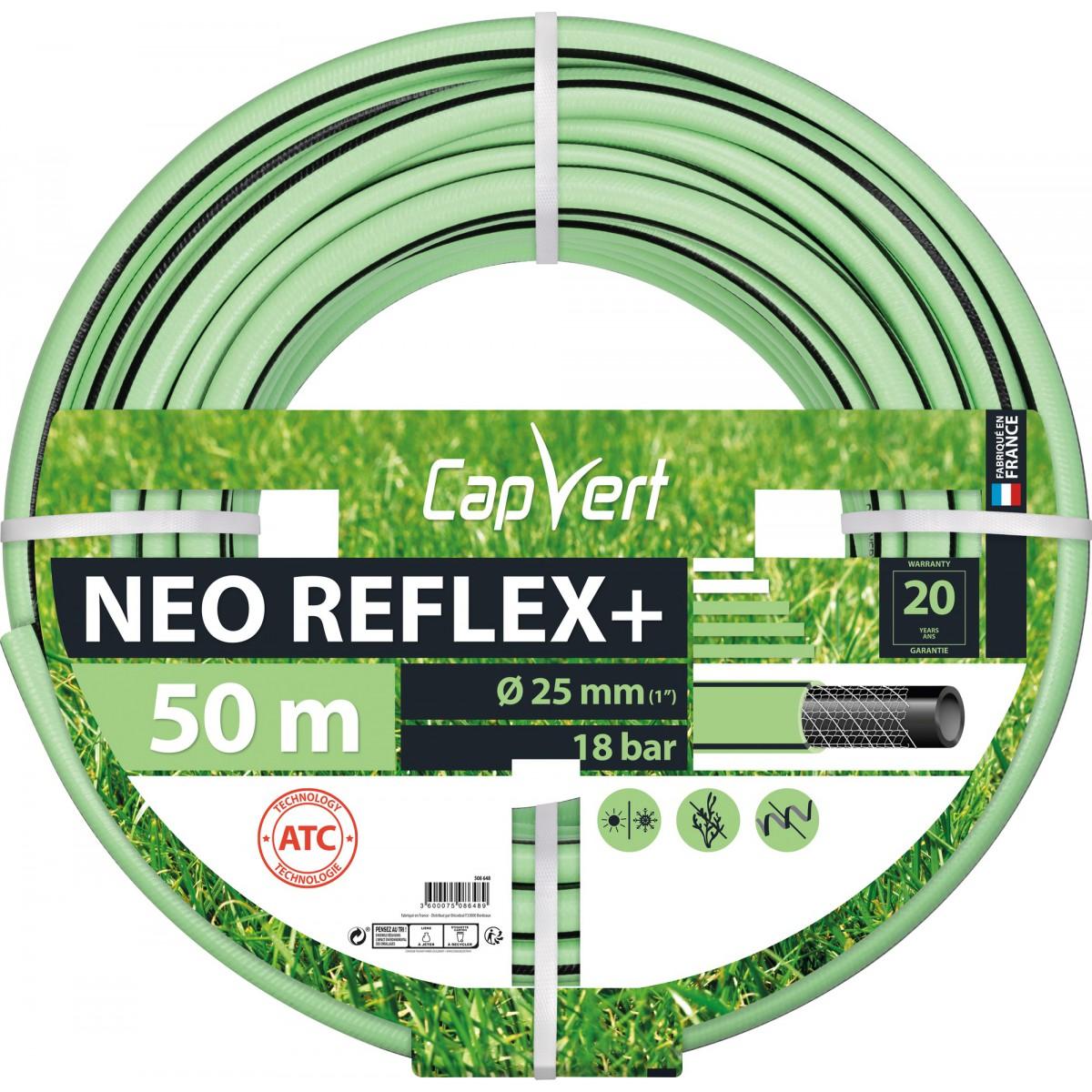 Tuyau d'arrosage Néo Reflex+ Cap Vert -Diamètre 25 mm - Longueur 50 m