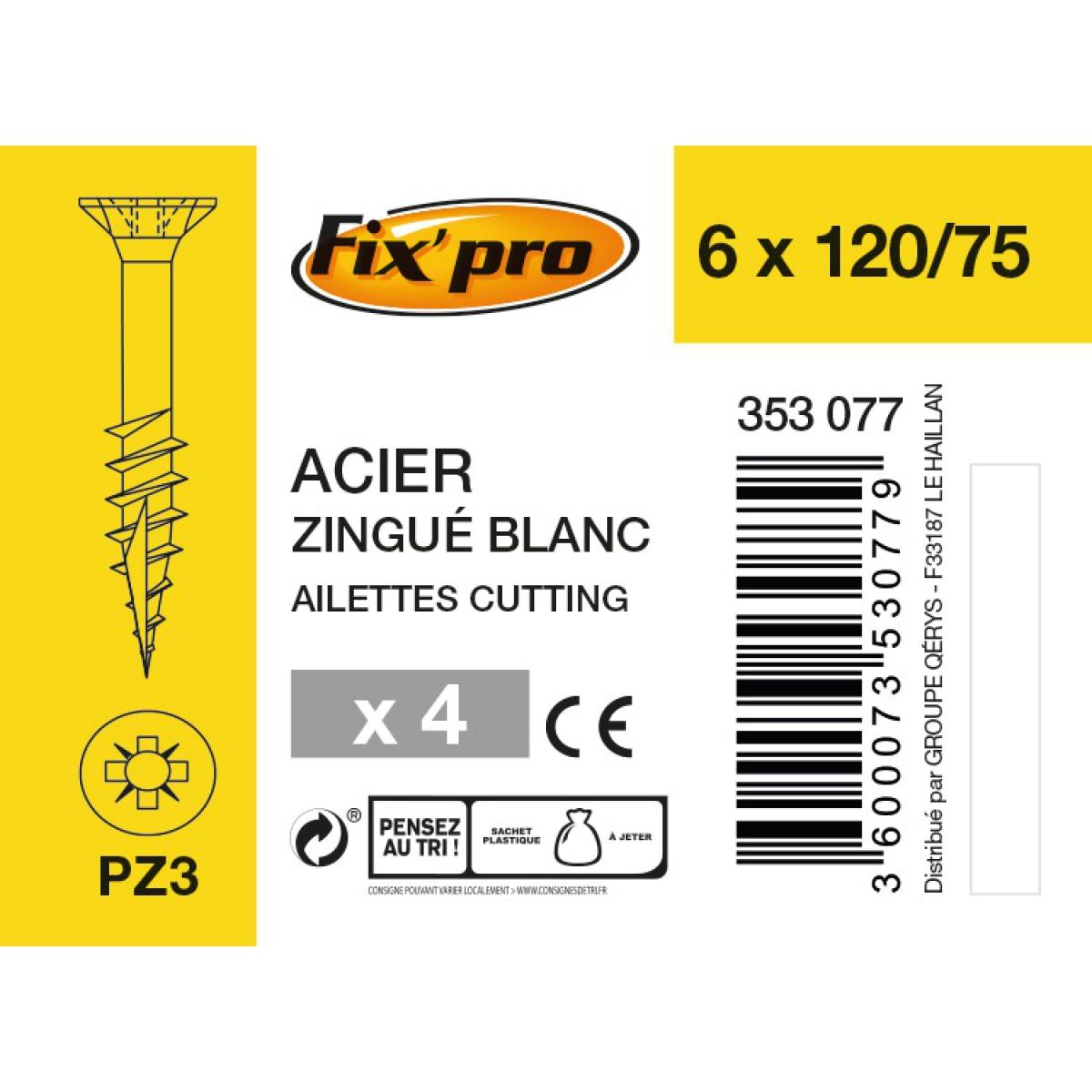 Vis à bois tête fraisée PZ - 6x120/75 - 4pces - Fixpro