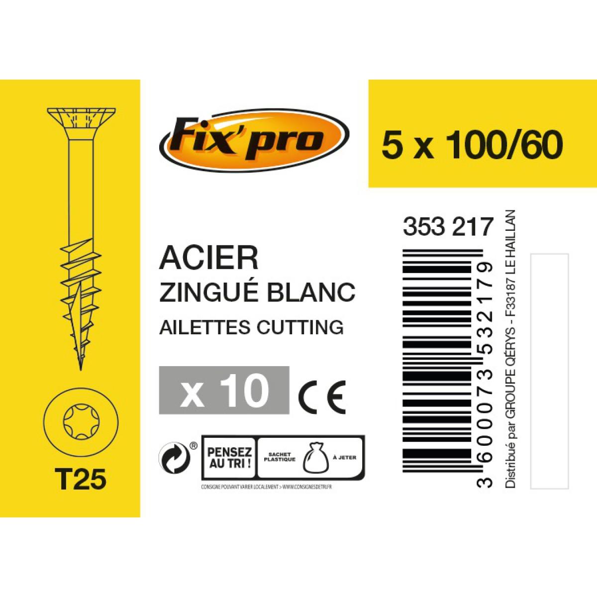 Vis à bois tête fraisée TX - 5x100/60 - 10pces - Fixpro