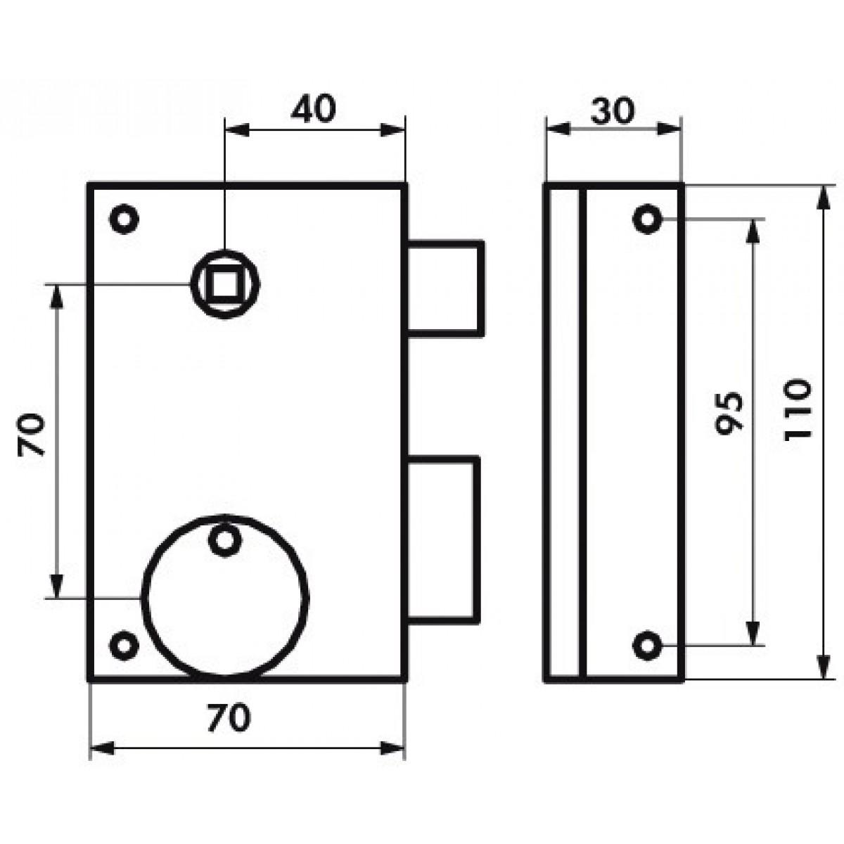 Serrure verticale pêne dormant 1/2 T Thirard - Noir - Droite - Section 7 mm - l x h - 70 x 110 mm