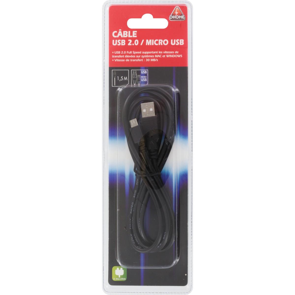 Câble USB 2.0 mâle/USB 2.0 micro mâle Dhome - Longueur 1,50 m
