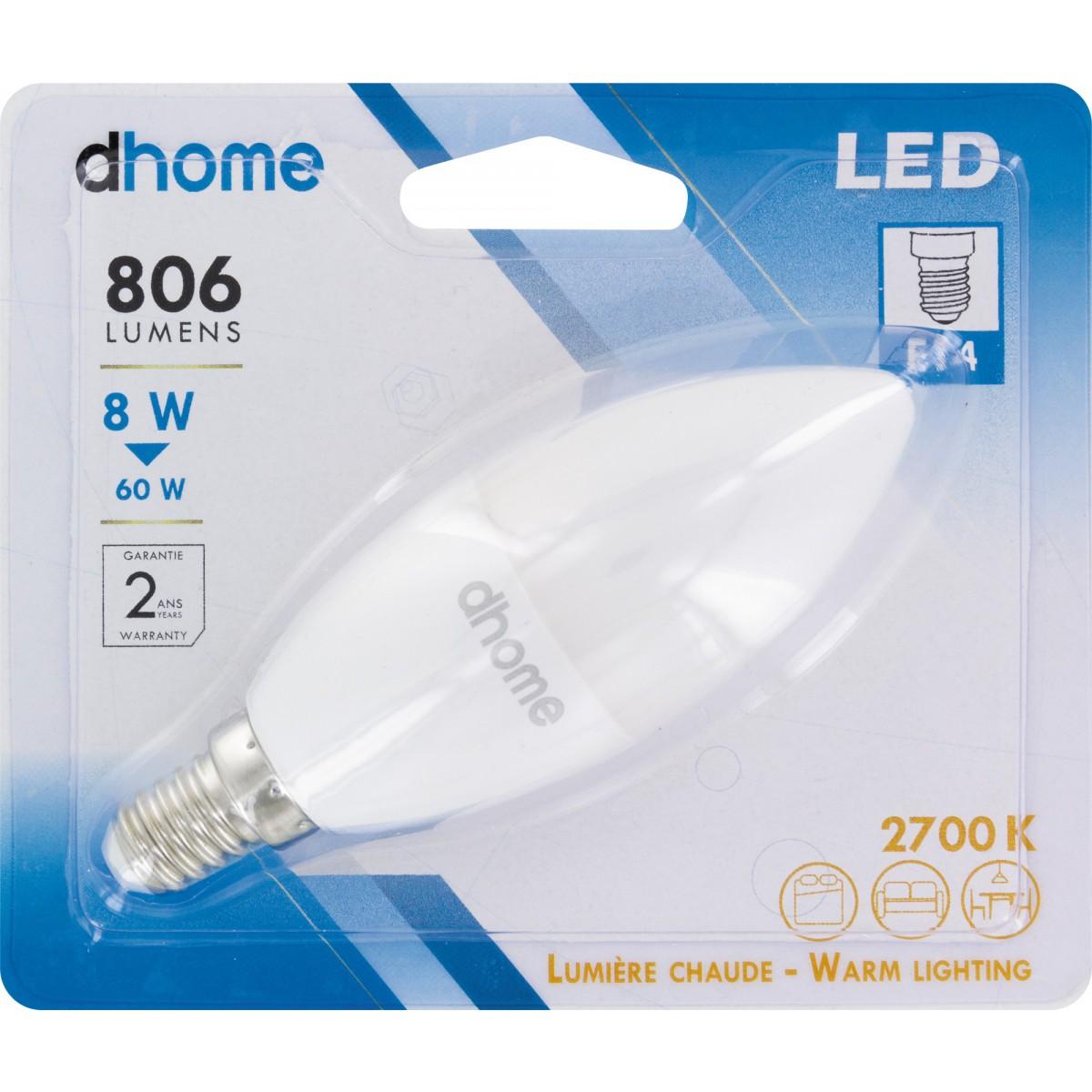 Ampoule LED flamme E14 dhome - 806 Lumens - 8 W - 2700 K