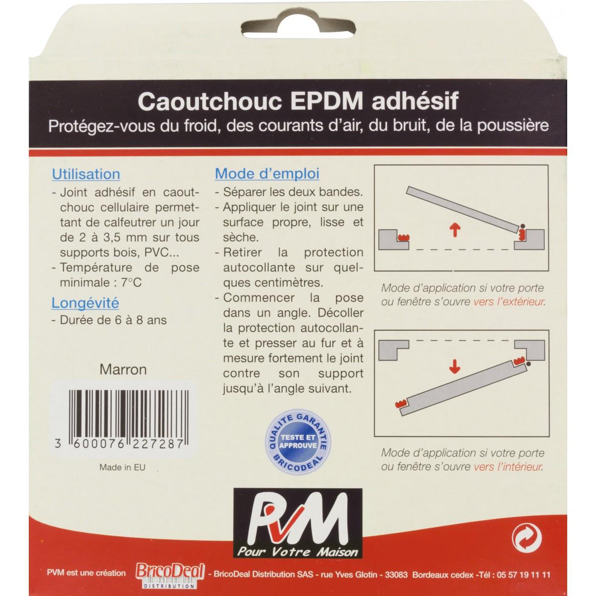 Joint caoutchouc profil E PVM - Marron - Longueur 10 m