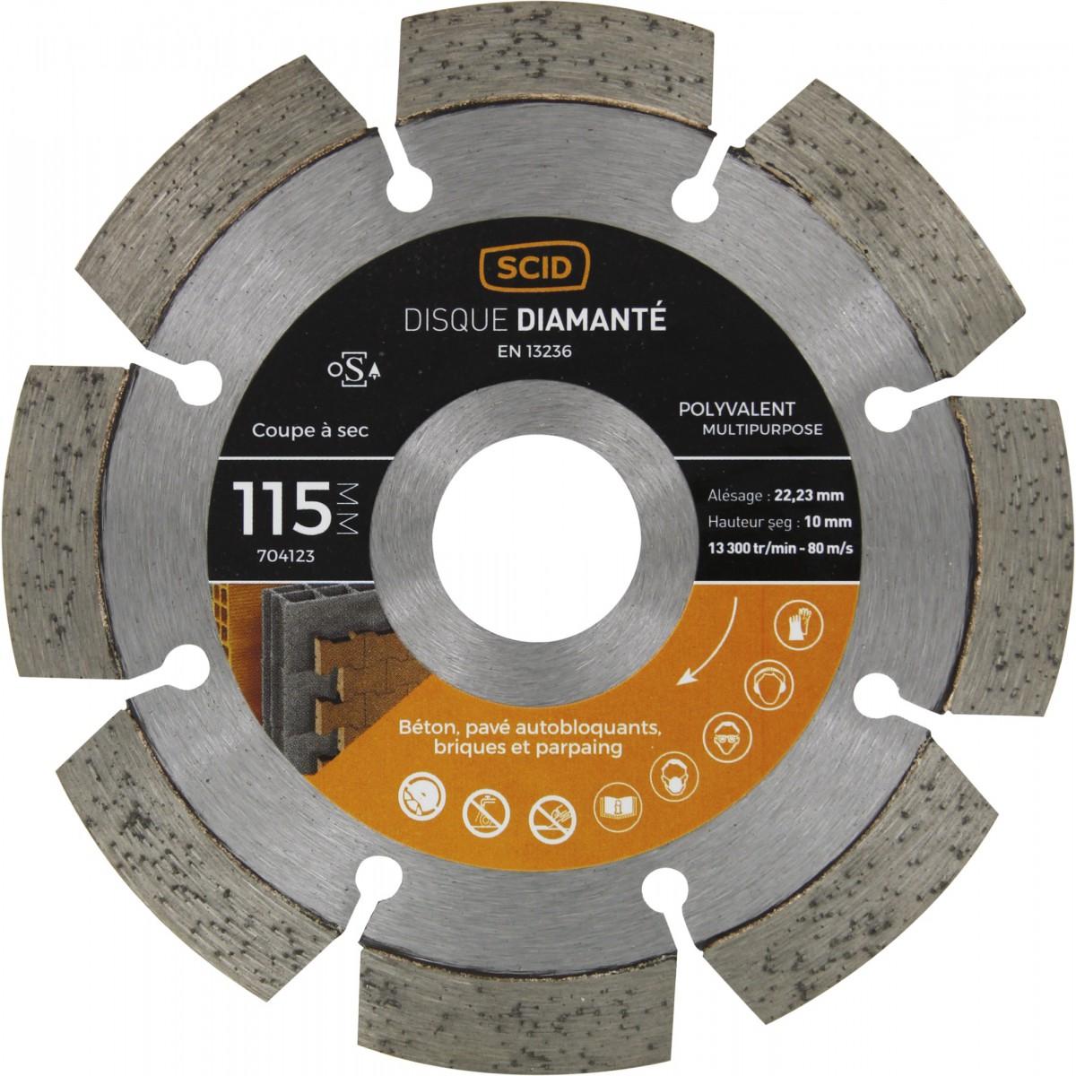Disque diamanté polyvalent professionnel SCID - Diamètre 115 mm