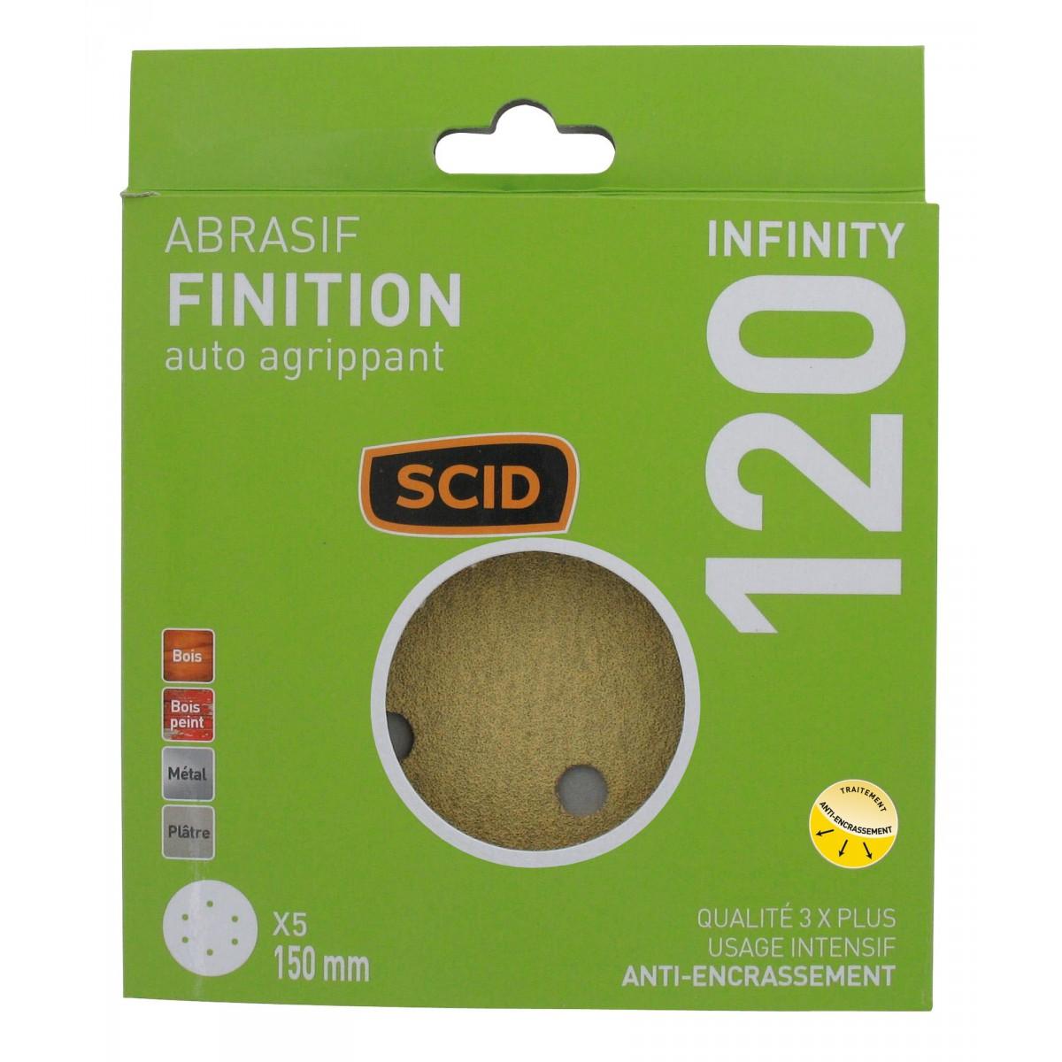 Disque auto-agrippant diamètre 150 mm 6 trous SCID - Grain 120 - Diamètre 150 mm - Vendu par 5