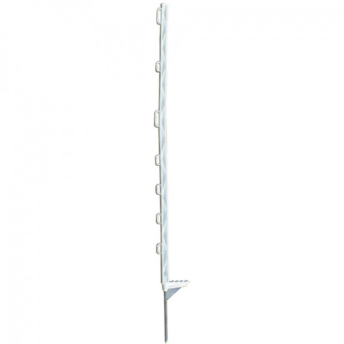 Piquet plastique bêche renforcée blanc Chapron Lemenager - 7 isolateurs - Hauteur 1,05 m