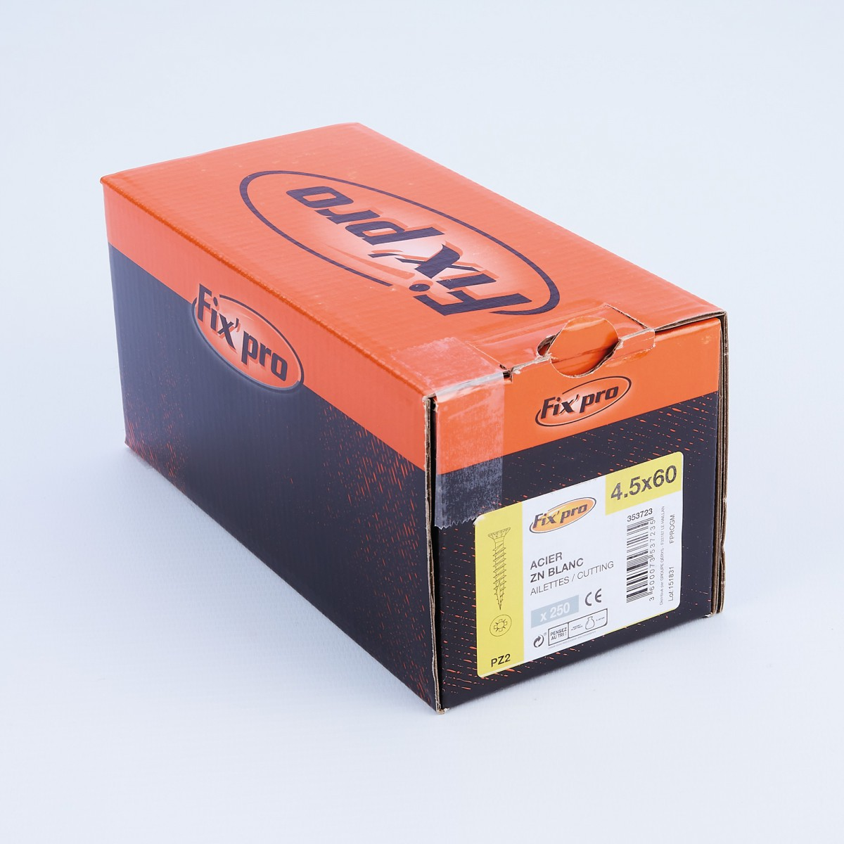 Vis à bois tête fraisée PZ - 4,5x60 - 250pces - Fixpro