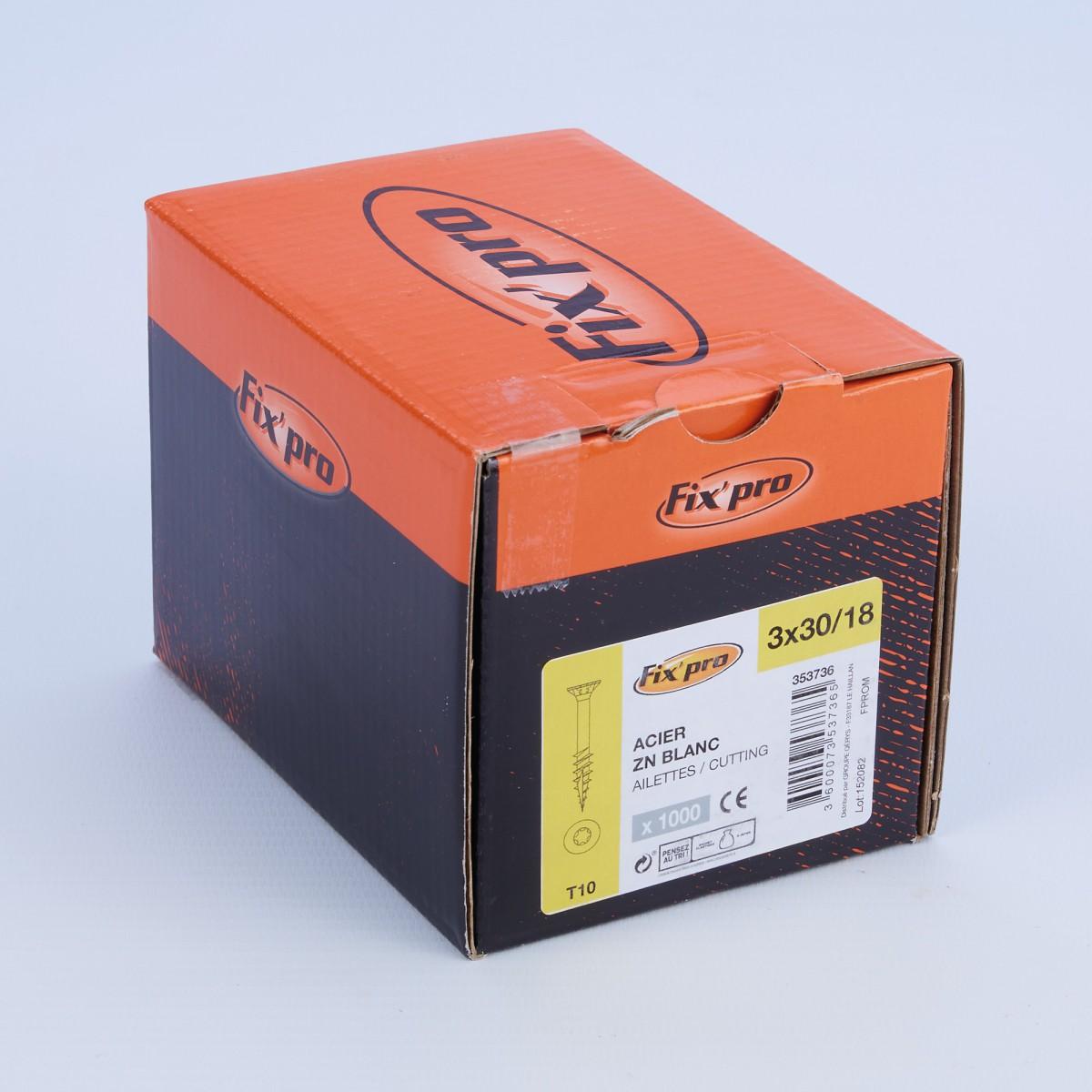 Vis à bois tête fraisée TX - 3x30/18 - 1000pces - Fixpro