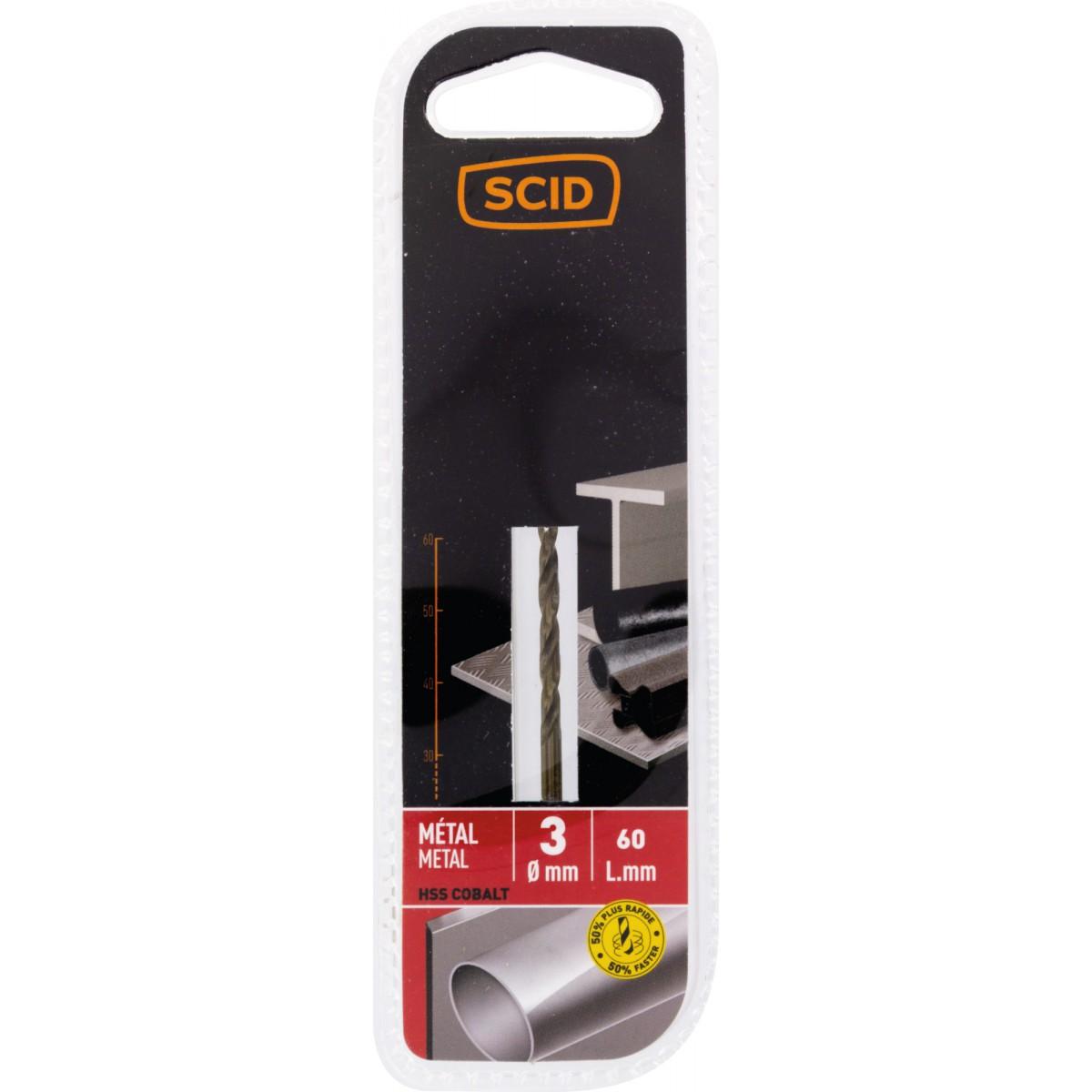 Foret métal HSS cobalt SCID - Longueur 60 mm - Diamètre 3 mm