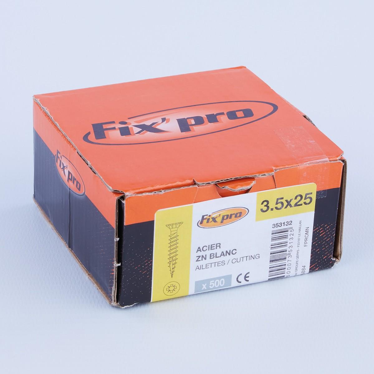 Vis à bois tête fraisée PZ - 3,5x25 - 500pces - Fixpro