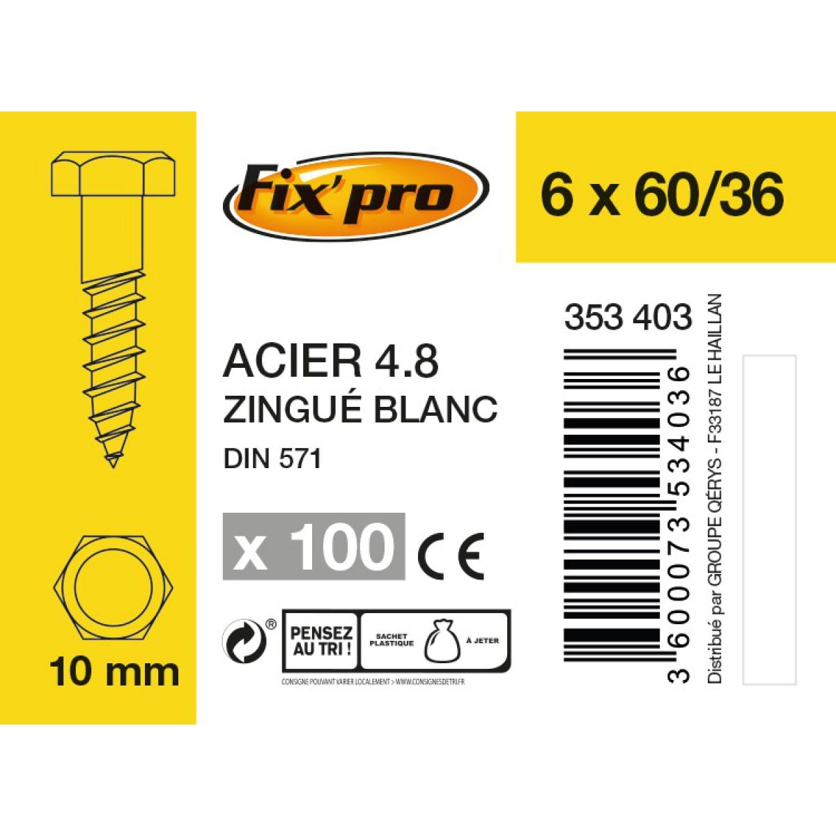 Tirefond tête hexagonale acier zingué - 6x60/36 - 100pces - Fixpro