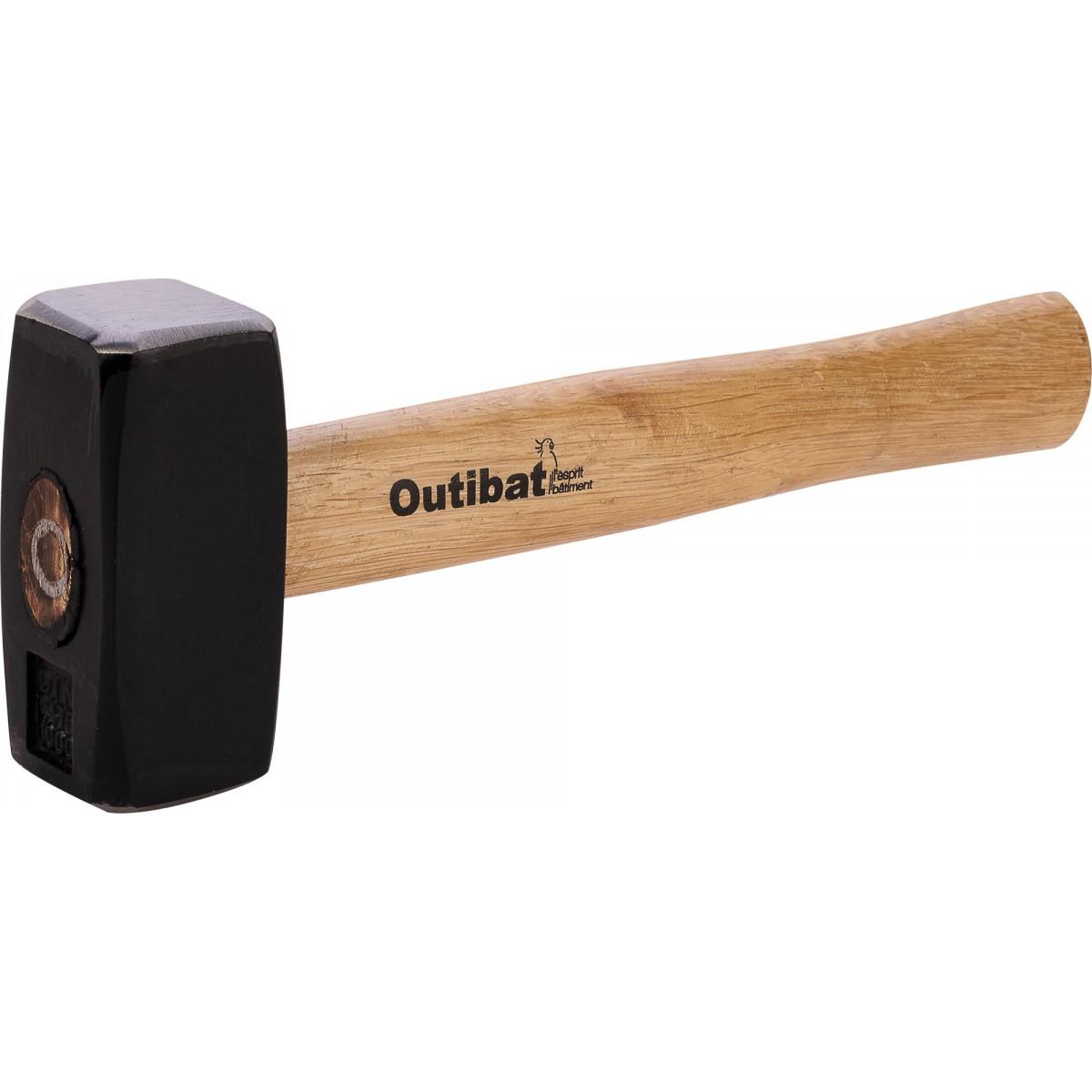 Massette carrée Outibat - Manche bois - 1 kg