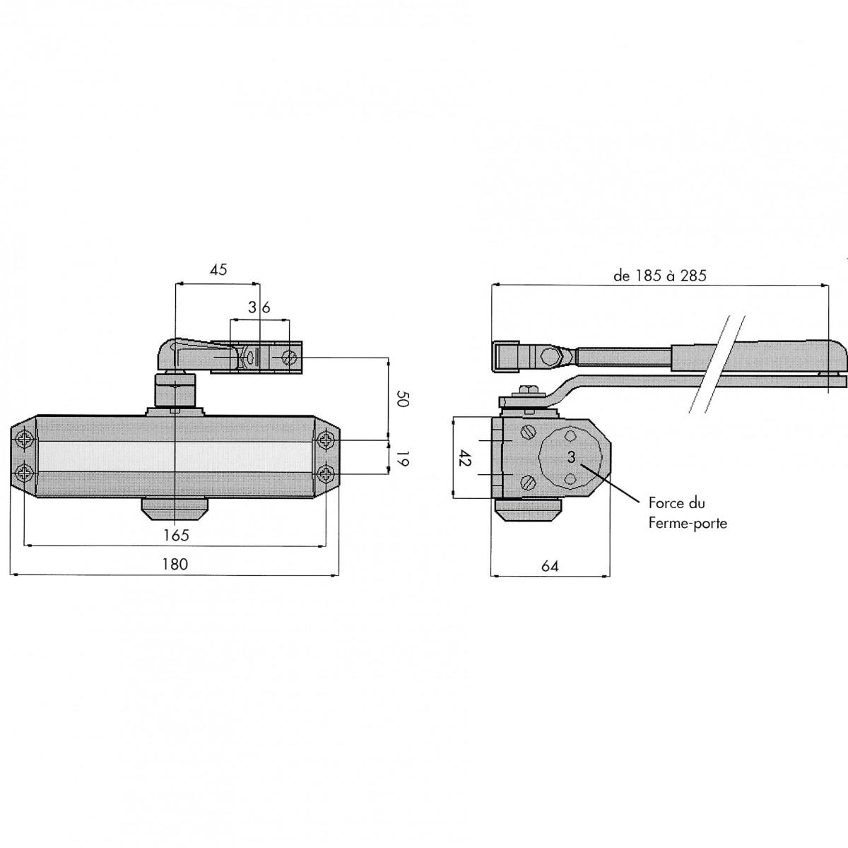 Ferme-porte GR101 force 3 à bras compas - Groom