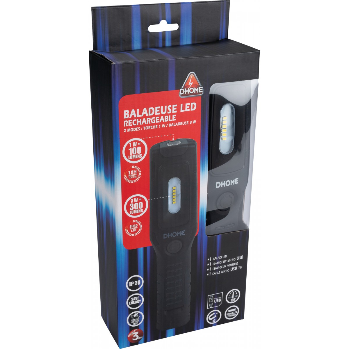 Baladeuse rechargeable 2 modes