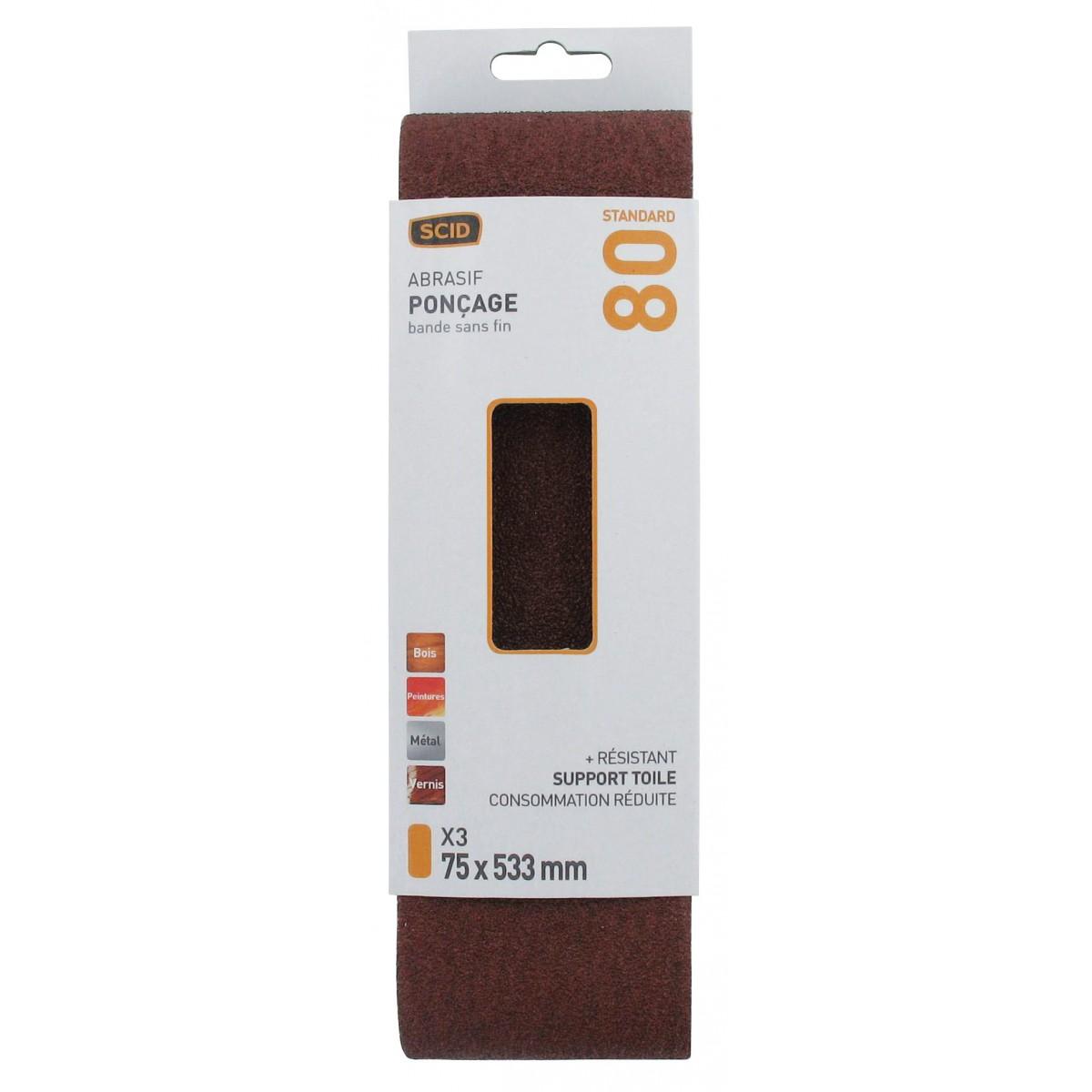 Bande sans fin abrasive SCID - Dimensions 75 x 533 mm - Grain 80 - Vendu par 3