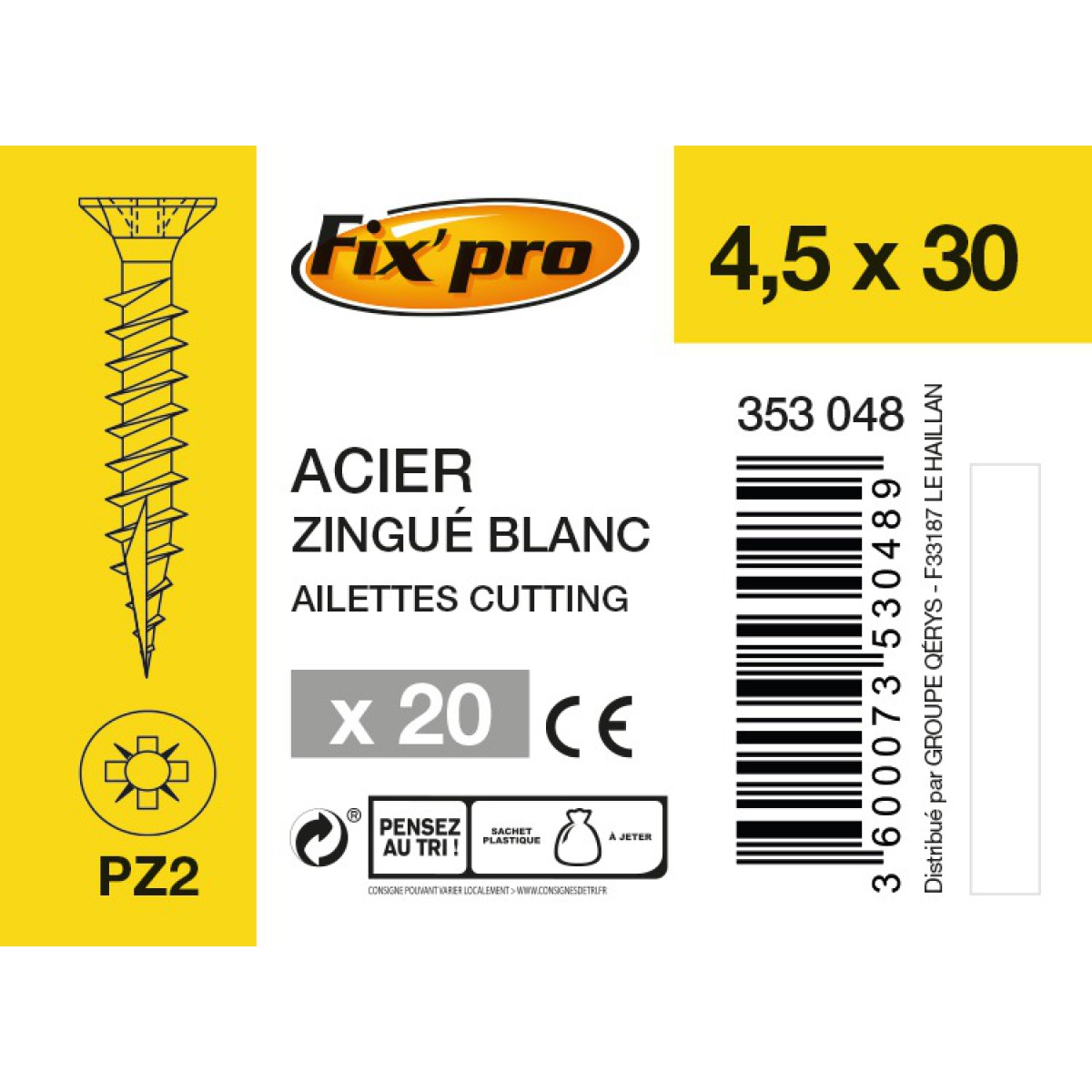 Vis à bois tête fraisée PZ - 4,5x30 - 20pces - Fixpro