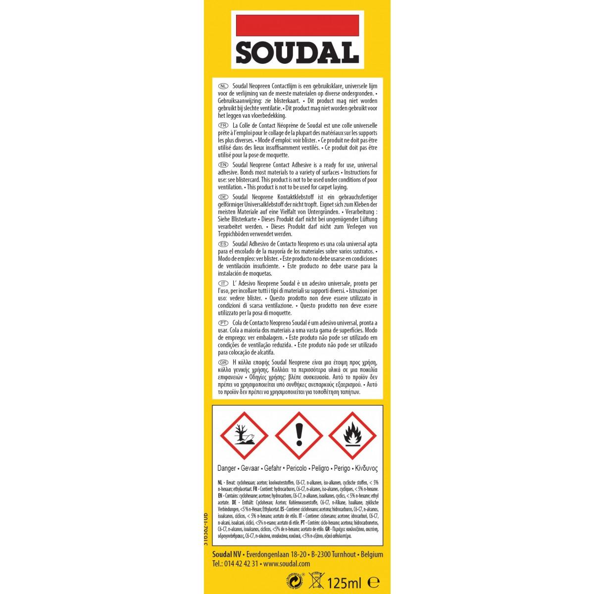 Colle néoprène gel Soudal - 125 ml