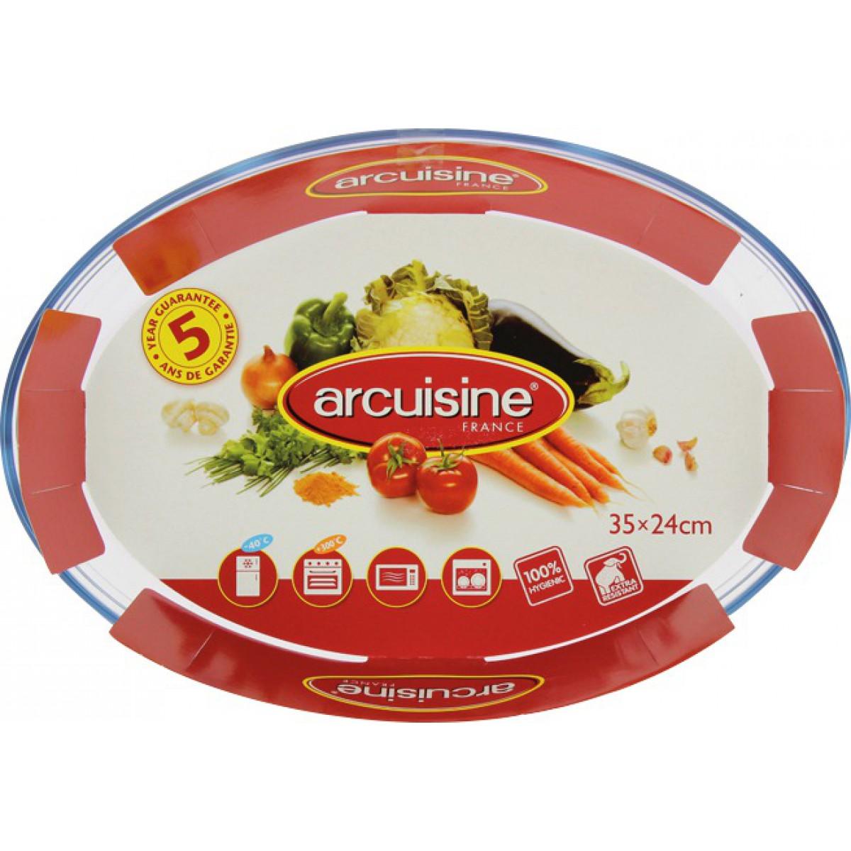 Plat ovale en verre o cuisine - Longueur 340 mm