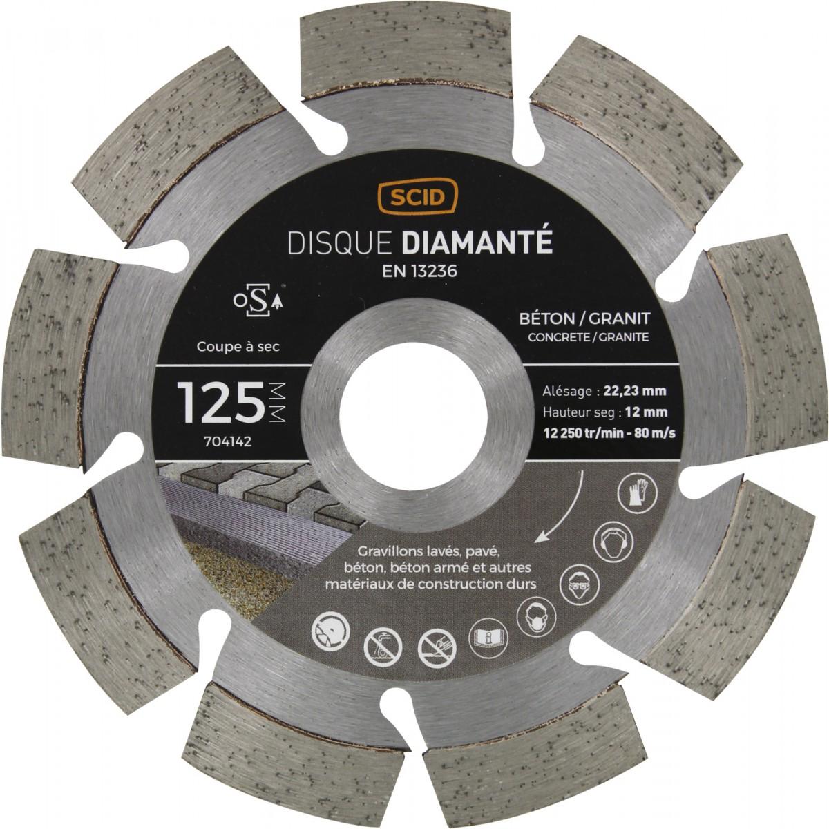 Disque diamanté béton granit professionnel SCID - Diamètre 125 mm