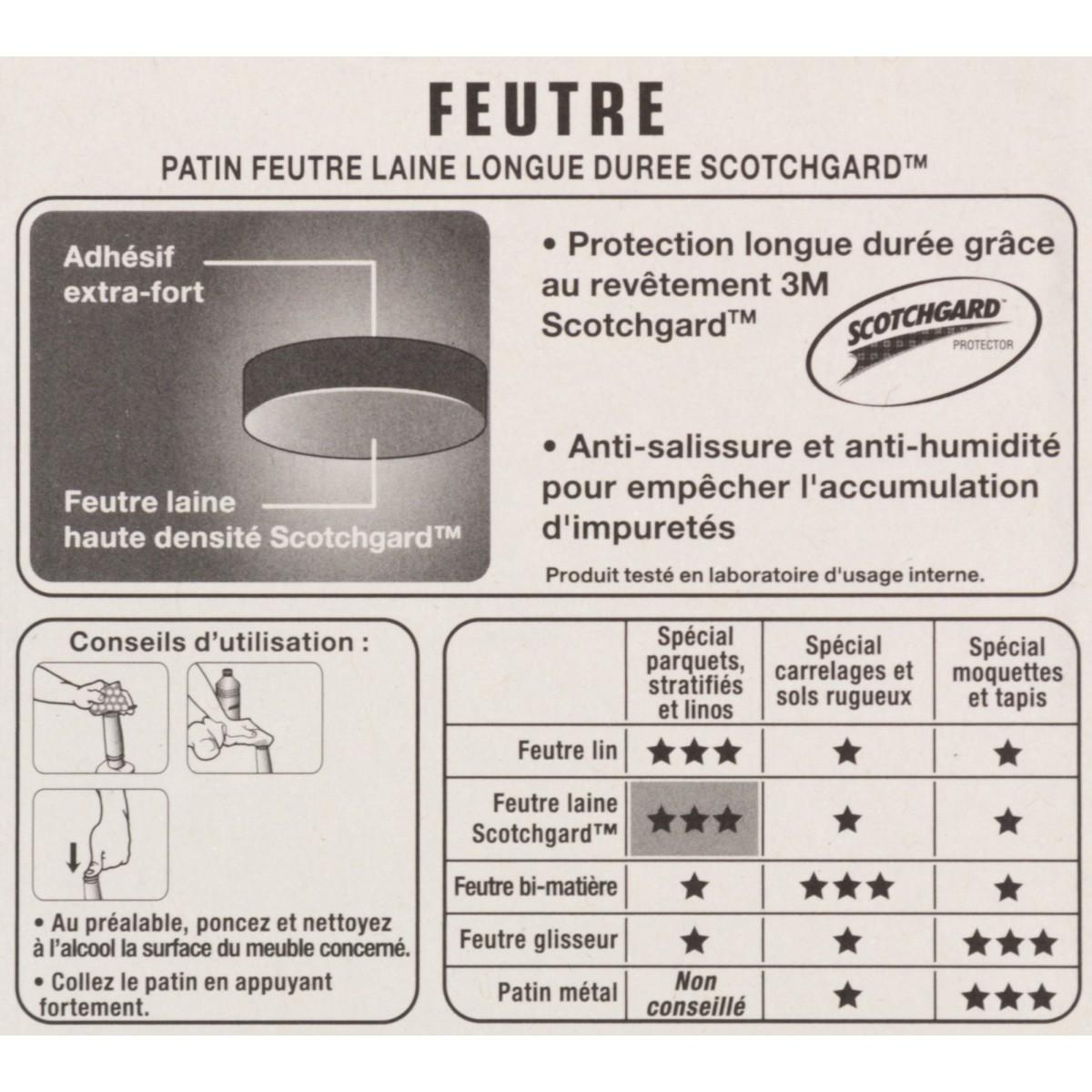 Patin adhésif feutre laine marron 3M- Rond - Diamètre 13 mm - Vendu par 25