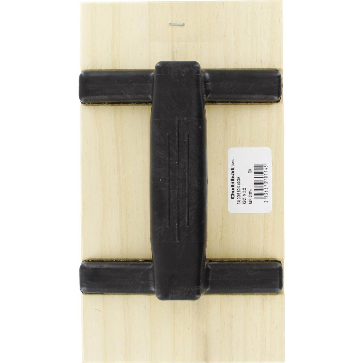 Taloche bois rectangulaire Outibat - Dimensions 14 x 27 cm
