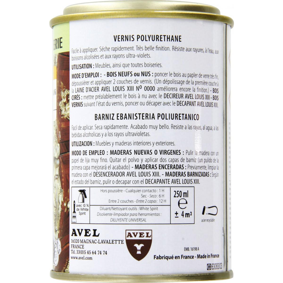 Vernis bois satiné 250 ml Avel Louis XIII - Merisier