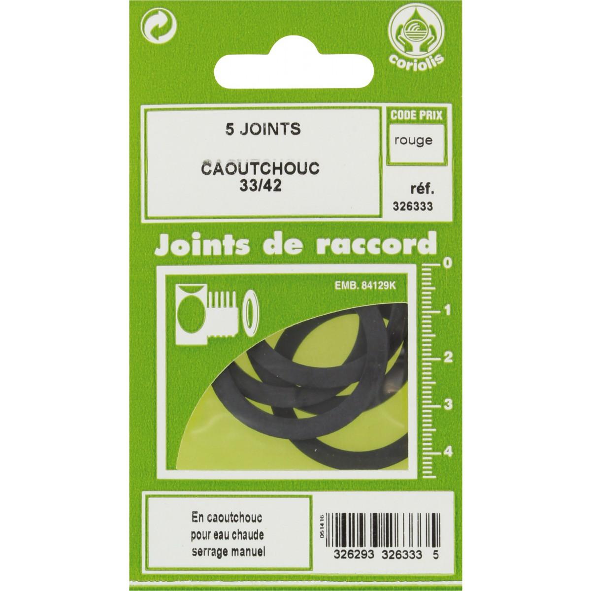 Joint caoutchouc EPDM - Filetage 33 x 42 mm - Vendu par 5
