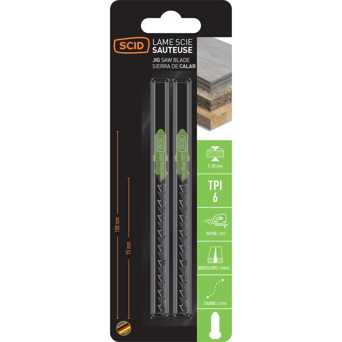 Lame de scie sauteuse bois accroche en T SCID - Epaisseur 1,25 mm - Longueur 100 mm - Vendu par 2