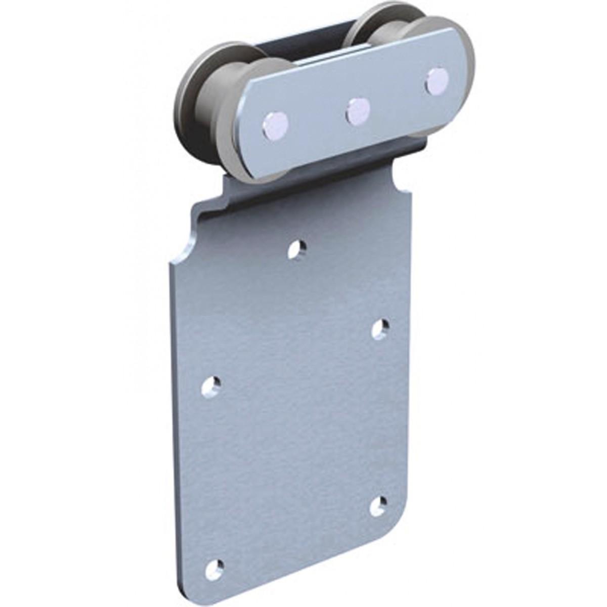 Ferrure de porte à déplacement droit pour porte de 150 kg Mantion Flot - Monture à galet fixation sur plat - Delrin 251D - Vendu par 2