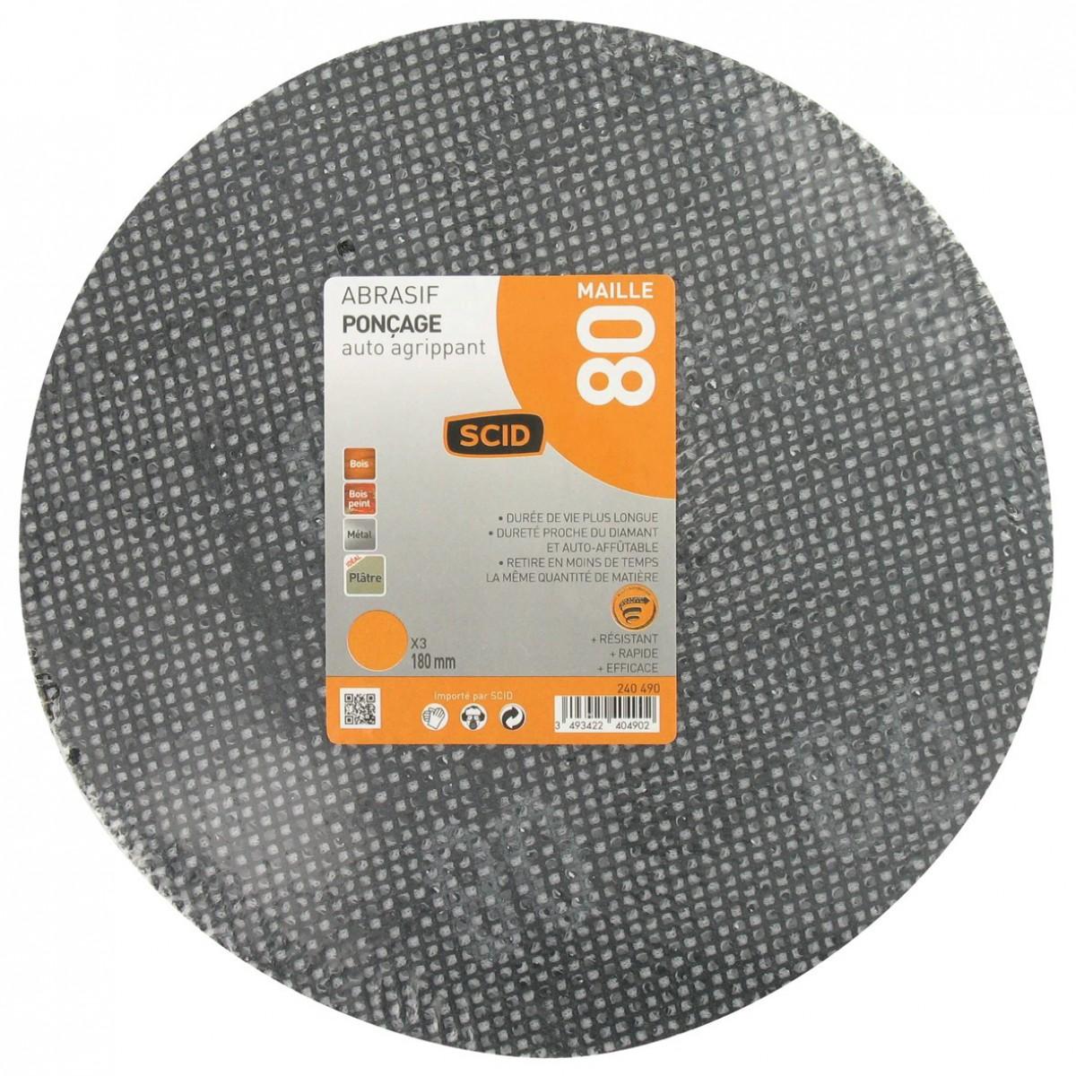 Disque maille auto-agrippant diamètre 180 mm SCID - Grain 80 - Vendu par 3