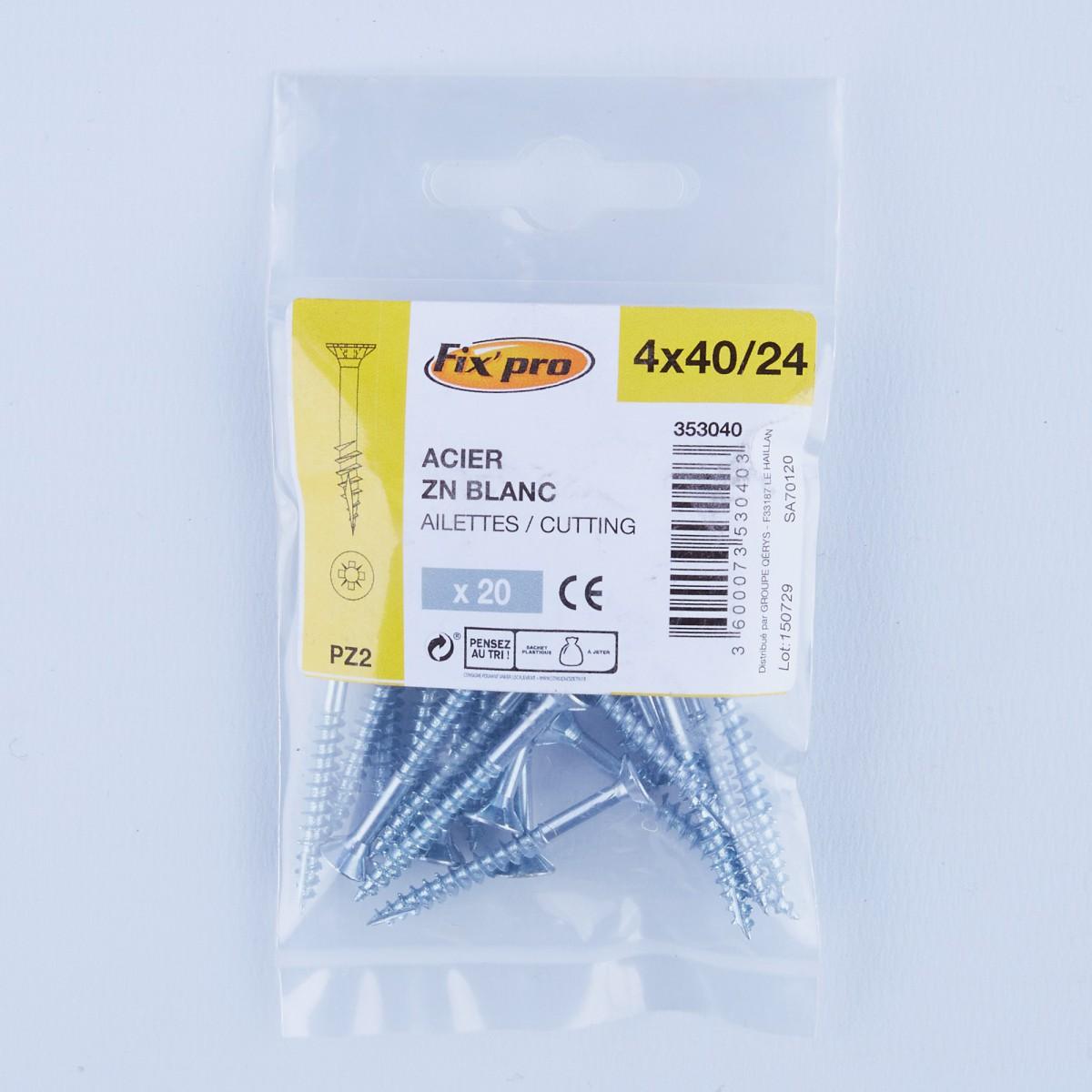 Vis à bois tête fraisée PZ - 4x40/24 - 20pces - Fixpro