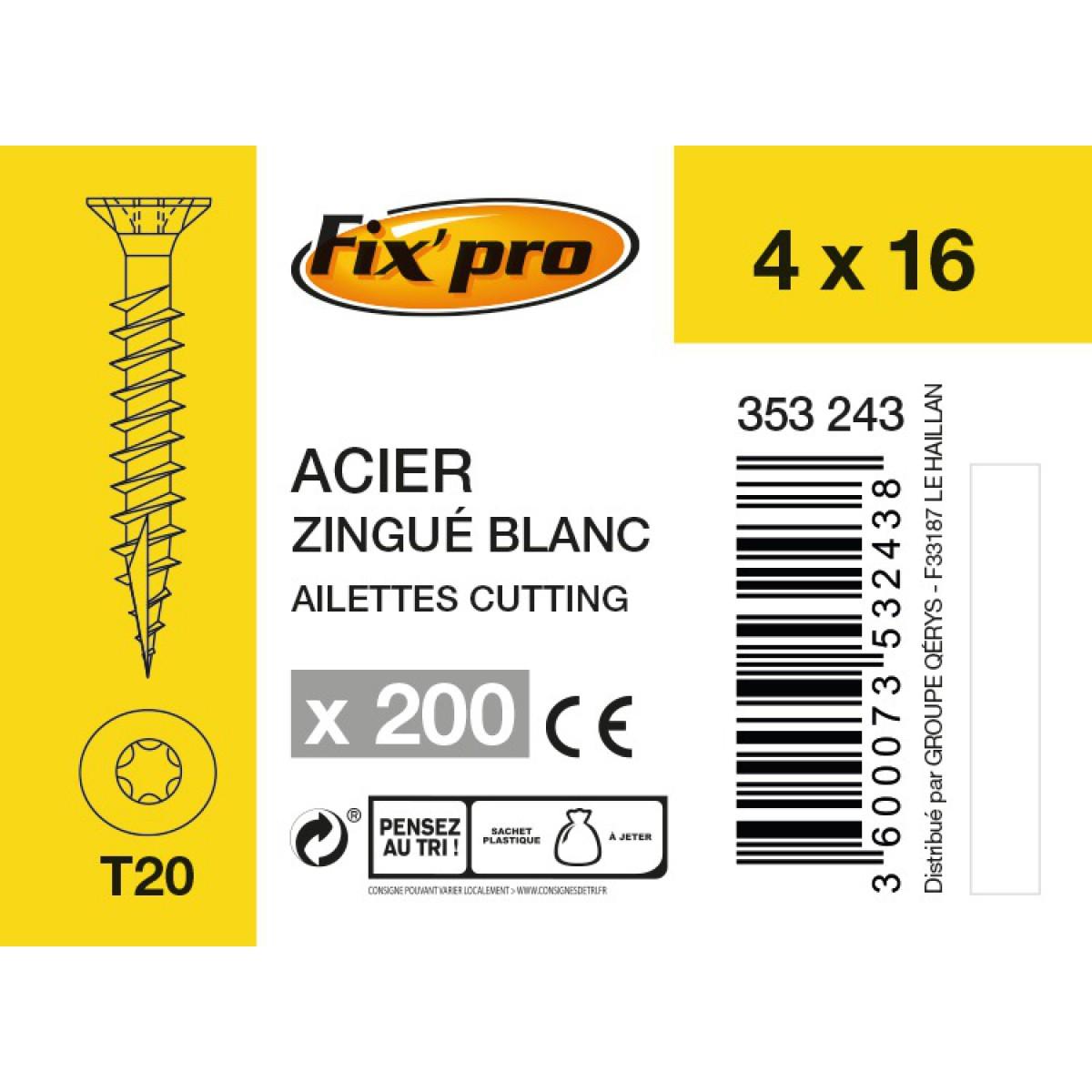 Vis à bois tête fraisée TX - 4x16 - 200pces - Fixpro