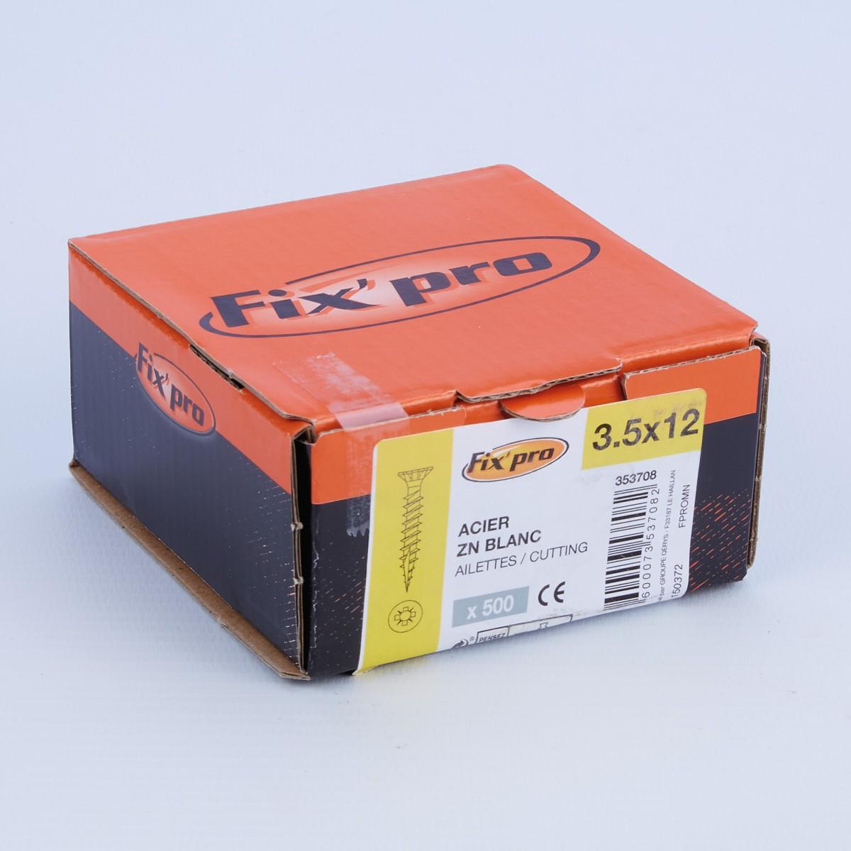Vis à bois tête fraisée PZ - 3,5x12 - 500pces - Fixpro