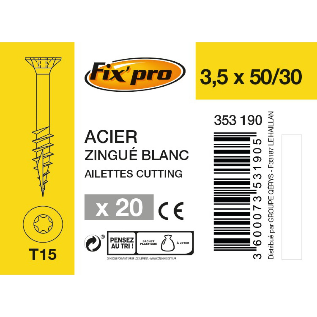 Vis à bois tête fraisée TX - 3,5x50/30 - 20pces - Fixpro