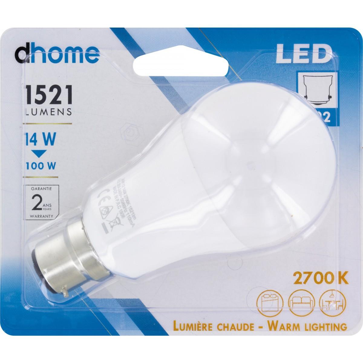 Ampoule LED standard B22 dhome - 1521 Lumens - 14 W - 2700 K