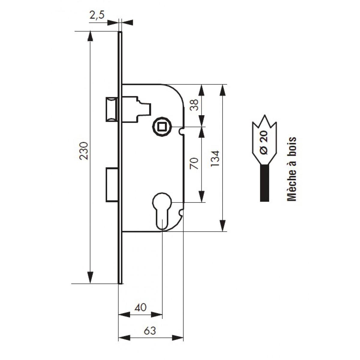 Serrure à larder réversible pour cylindre profilé PVM - Blanc - Réversible - Section 7 mm - l x h x p - 20 x 230 x 63 mm
