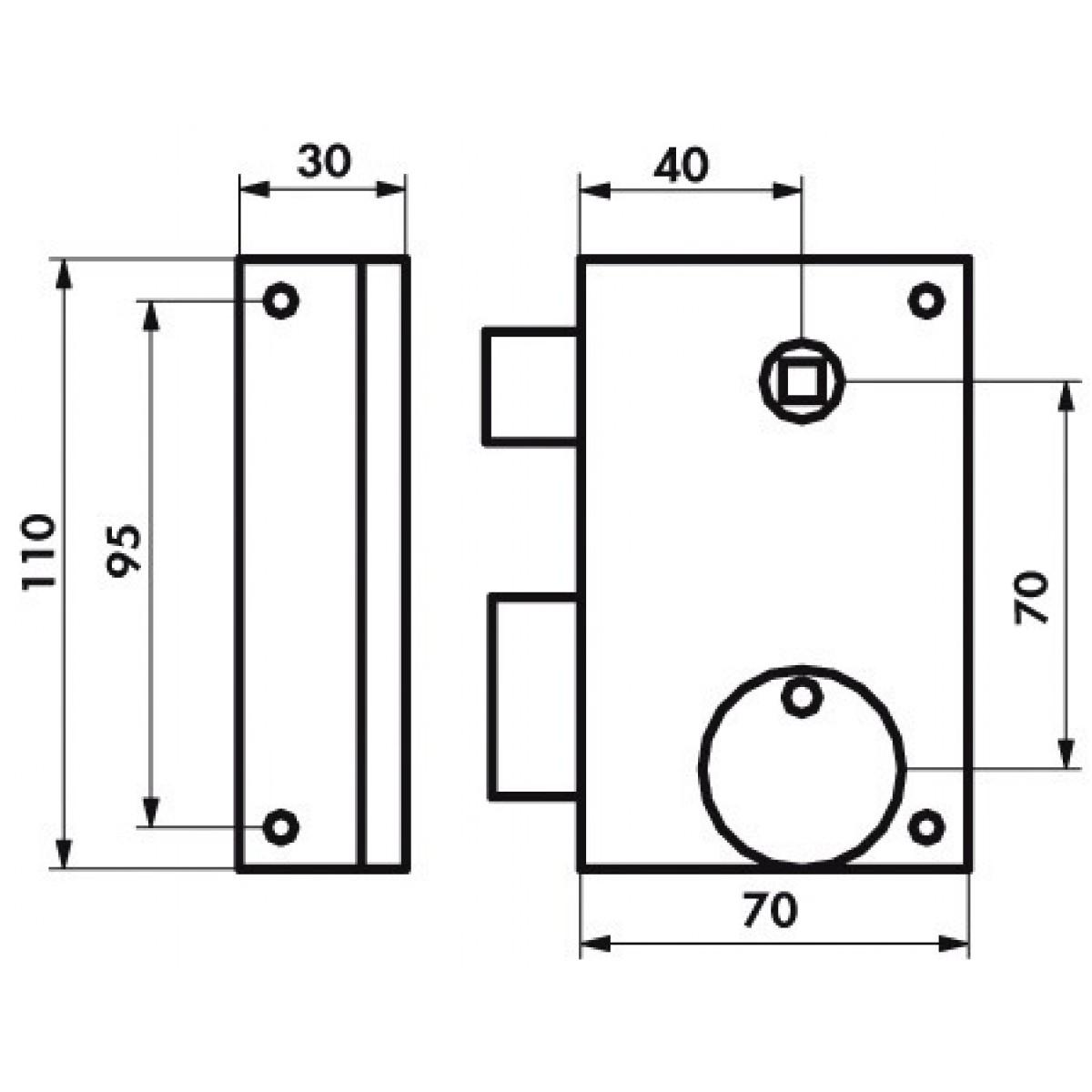 Serrure verticale pêne dormant 1/2 T Thirard - Noir - Gauche - Section 7 mm - l x h - 70 x 110 mm