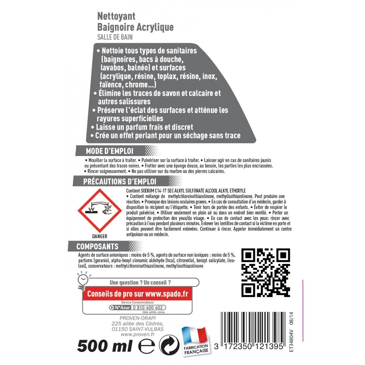 nettoyant baignoire acrylique spado - pulvérisateur 500 ml de