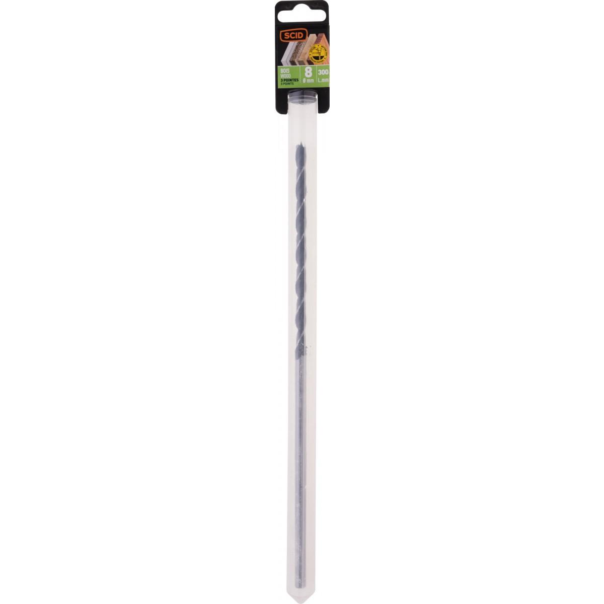 Mèche à bois 3 pointes SCID - Longueur 300 mm - Diamètre 8 mm