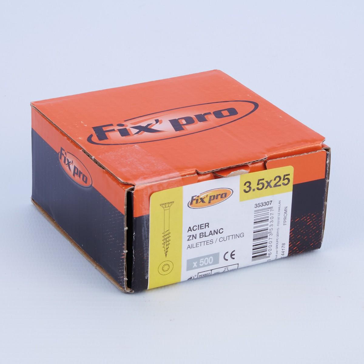 Vis à bois tête fraisée TX - 3,5x25 - 500pces - Fixpro